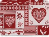 Jacquard Deco fabric, hearts-country style, ecru-red, 140cm
