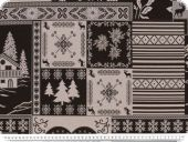 Jacquard Deco fabric, hearts-country style, ecru-black,140cm