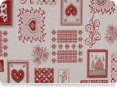 Jacquard Deco fabric, hearts, ecru-red, 140cm