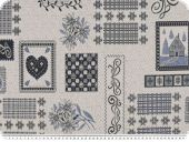 Jacquard Deco fabric, hearts, ecru-blue, 140cm