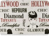 Jacquard Deco fabric, hollywood-Glamour, grey-red, 140cm