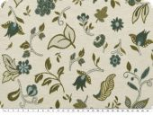 Jacquard deco fabric, flowers, ecru-blue, 140cm