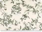 Decoration fabric, satin, flowers, ecru-grey, 140cm