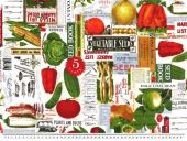 Deco fabric, vegetables, multicolour, 140cm