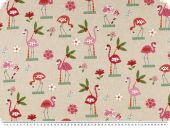Deco fabric, birds, beige-multicolour, 140cm