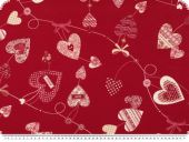 Jacquard deco fabric, hearts, red-cream, 140cm
