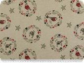 Decoration fabric,birds and flowers, linen colour-red, 140cm
