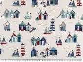 Decoration fabric, seaside, white and blue, 140cm