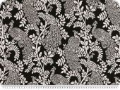 Jacquard deco fabric, flowers, black and white, 140cm