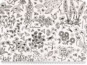 Deco fabric, flowers, line drawing, white and black, 140cm