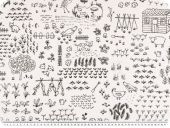 Deco fabric, farm life, line drawing, white and black, 140cm