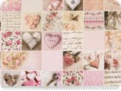 Patch deco fabric, hearts and roses, digital print, rose,