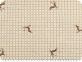 Jacquard fabric, checks-deers, beige-brown, 140cm