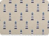 Maritime deco fabric, lighthouses, linen-blue, 140cm
