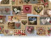 Digital decoration fabric, hearts, patch, 140cm