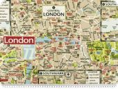 Deco fabric, street map London, beige-multicolour, 140cm