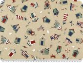 Deco fabric, nautical motifs, ecru, 140cm
