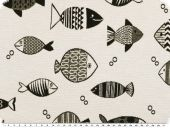 Jacquard deco fabric, fishes, black and white, 140cm