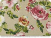 Decoration fabric, roses, ecru-multicolour, 140cm