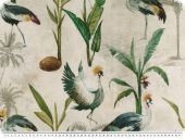 panama decoration fabric, digital print, cranes, ecru-green