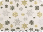 Christmas deco fabric, ice crystals, white-gold-silver, 160c