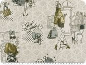 Jacquard deco fabric, Girl Power, grey-blue-olive, 140cm