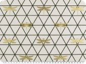 Jacquard deco fabric, triangle pattern with dragonflies, 140
