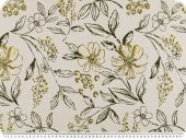 Jacquard deco fabric, flower mix, gold-brown, 140cm