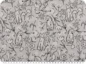 Jacquard deco fabric, cats and flowers, grey-black, 140cm