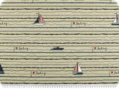 Deco fabric 'Sailing', half panama, boats and ships, 140cm