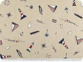 Deco fabric, nautic,  half panama, boats and ships, 140cm