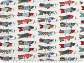 Deco fabric, colourful windbirds, fish motif, multicolour