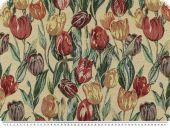 Deco-and upholstery fabric, tulips, ecru- multicolour, 140cm