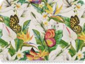 Deco fabric,  panama, butterflies, white-multicolour, 140cm