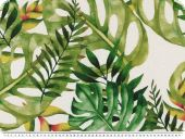 Deco fabric,  panama, leaves, white-green, 140cm
