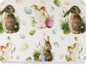 Deco fabric for Easter, rabbits & eggs, digital print,