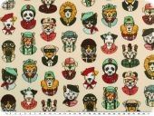 Deco fabric, cats and dogs faces, beige -coloured, 160cm