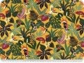 Deco fabric,  plants and animals, yellow-green, 160cm