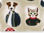 Deco fabric,  well dressed cats and dogs, 140cm