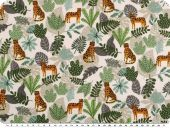 Deco fabric,  big cats and plants,  whiteorange-green