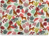 Deco fabric,  big cats and plants,  white-orange-red