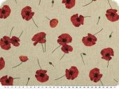Deco fabric, cotton blend,  poppies, linen-red, 140cm
