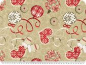 Deco fabric, christmas motifs, beige-red-brown, 140cm