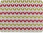 Jacquard, leaves, white-raspberry-apple green, 140cm