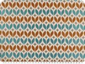 Jacquard, leaves, ecru-orange-aqua, 140cm