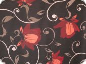 highquality decoration fabric, flowers, grey-red, 140cm