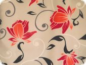 highquality decoration fabric, flowers, beige-red, 140cm