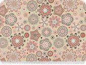decoration fabric, ornamental flowers, beige-grey-red, 140cm
