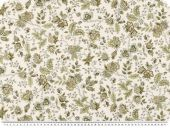 Decoration fabric, flowers, ecru-brown, 140cm