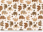 leftover, Decoration fabric, elephants, white-brown, 140x150